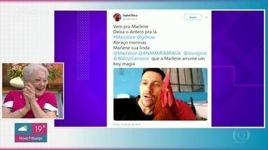 Suely Franco se diverte com mensagem de galo na internet - Internauta sugere que a personagem de Suely em 'A Dona do Pedaço' deixe Antero e arrume um boy magia