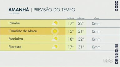 Confira como fica a previsão do tempo para Maringá e região - Dados são da Somar Meteorologia.