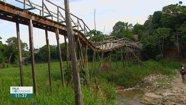 Fala Comunidade: Moradores do Mauazinho reclamam de ponte parcialmente destruída - Ponte liga bairro ao Conjunto Mauá.