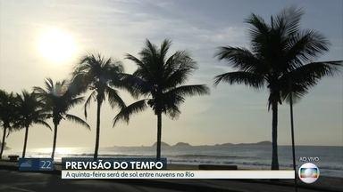 Confira a previsão do tempo para esta quinta-feira (24) - Quinta-feira será de sol entre nuvens no Rio.