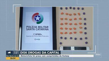 Motociclista é preso com comprimidos de ecstasy em Florianópolis - Motociclista é preso com comprimidos de ecstasy em Florianópolis