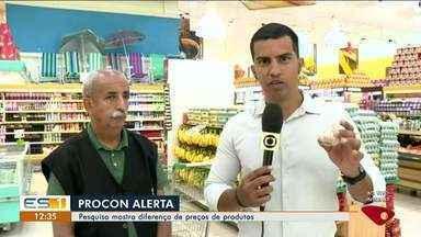 Pesquisa do Procon mostra diferença no preço de supermercados, no ES - Vários produtos de mercados de Linhares tinham preços diferentes.