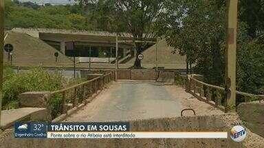 Ponte sobre o Rio Atibaia em Campinas é interditada por conta de problemas na estrutura - A ponte liga a Rodovia Dom Pedro a Joaquim Egídio; confira as rotas alternativas.