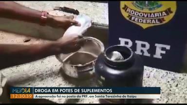 PRF apreende droga escondida em embalagens de suplementos - Apreensão foi em Santa Terezinha de Itaipu, na BR-277.