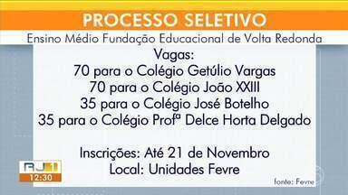 Abertas inscrições para processo seletivo do Ensino Médio da Fevre em Volta Redonda - Vagas ofertadas são para o turno da manhã. Inscrições vão até o dia 21 de novembro.
