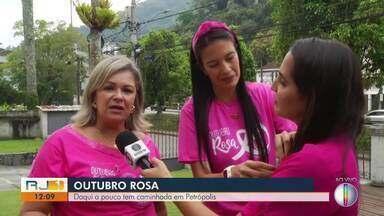 Caminhada do Outubro Rosa neste sábado em Petrópolis, no RJ - Assista a seguir.