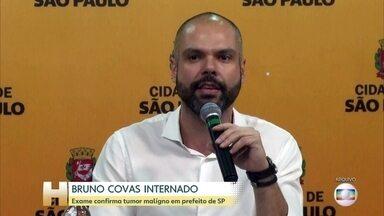 Prefeito de São Paulo passará por quimioterapia - Tratamento contra câncer no trato digestivo começa nas próximas horas. Bruno Covas tem um tumor maligno entre o esôfago e o estômago.