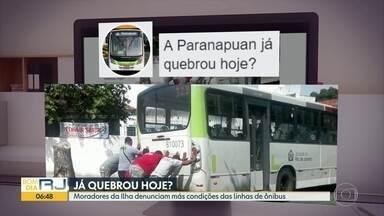 Passageiros criam página na internet para denunciar péssimas condições de ônibus, na Ilha - Moradores da Ilha do Governador reclamam de péssimas condições dos ônibus da linha Paranapuan que circulam no bairro. O problema é tanto, que passageiros criaram uma página na internet sobre o assunto.