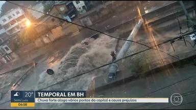 Chuva provoca inundações e desabamentos na Grande BH - Chuva castigou as regiões do Barreiro e Oeste, em Belo Horizonte. Avenidas Tereza Cristina e Vilarinho ficaram fechadas por mais de meia hora.