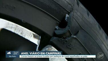 Objetos na pista provocam furos nos pneus de 7 carros no Anel Viário, em Campinas - Veículos foram danificados ao passar por cima de pedaços de cilindro de concreto que caiu na via. Segundo a concessionária, não há feridos ou lentidão no trânsito do local.