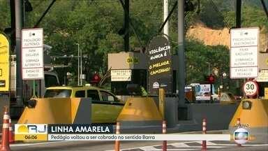 Linha Amarela volta a ter cobrança de pedágio no sentido Barra da Tijuca - O pedágio voltou a ser cobrado na madrugada desta sexta-feira (1º), somente no sentido Barra da Tijuca.