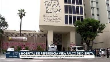 Grupos contra e pró aborto acampam em frente a hospital de referência no Centro - O Hospital Pérola Byington faz abortos nos casos previstos em lei.