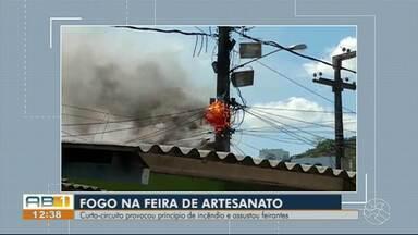 Princípio de incêndio é registrado na Feira de Artesanato em Caruaru - Bombeiros civis da Brigada de Incêndio controlaram a situação e apagaram o fogo.