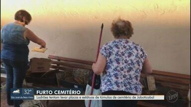 Ladrões tentam levar placas e estátuas de túmulos de cemitério de Jaboticabal, SP - Em vez de preparar túmulos, muita gente perdeu tempo para reparar danos.