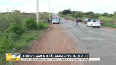 Atropelamento às margens da DF-180 - Duas pessoas morreram atropeladas por um carro em uma rodovia perto do Incra 8 em Brazlândia. O motorista fugiu do local sem prestar socorro e apareceu na delegacia três horas depois do acidente.