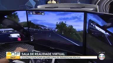 Detran inaugura sala de realidade virtual que simula efeitos do álcool na direção - O espaço funciona na Diretoria de Trânsito, na quadra 906 Sul, para proporcionar vivências diversas no trânsito e sensibilizar a população quanto aos riscos de dirigir sem uma preparação adequada. A visitação é aberta ao público.