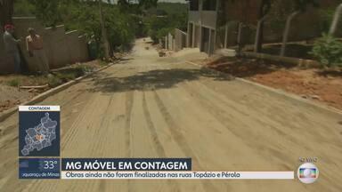 MG Móvel está no bairro Quintas do Jacuba, em Contagem - Obras de rede de esgoto e pavimentação começaram a ser feitas nas ruas Topázio e Pérola. Moradores ainda aguardam a conclusão das melhorias.