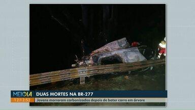 Duas pessoas morrem carbonizadas após acidente na BR-277, em Guaraniaçu - O motorista perdeu o controle, saiu da pista e depois bateu em uma árvore.