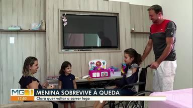 Criança sobrevive a queda de 9º andar de um prédio na capital mineira - Após o susto Clara de 11 anos de idade recebe alta e já está em casa.