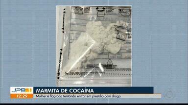 Mulher é flagrada tentando entrar num presídio da Paraíba com uma marmita com cocaína - O flagrante foi feito num presídio de Campina Grande.