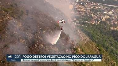 Fogo destrói vegetação no Pico do Jaraguá - Número de queimadas no estado disparou desde agosto. Nas últimas 72 horas, com o calor e com a baixa umidade do ar, os bombeiros registraram mais de mil incêndios em vegetação, só na Região Metropolitana.