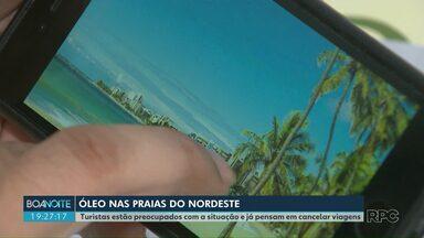 Turistas paranaenses estão preocupados com óleo em praias e já pensam em cancelar viagens - As manchas nas praias nordestinas podem afetar o turismo.