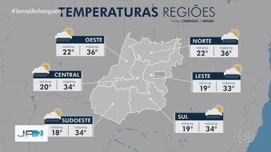 Previsão de chuva em todas as regiões de Goiás nesta terça-feira (5) - A temperatura oscila entre 20 a 34 graus.