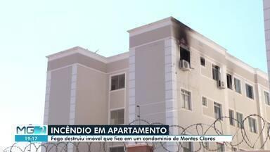 Corpo de Bombeiros e Defesa Civil interditam 40 apartamentos de condomínio - Interdição foi feita depois que um apartamento ficou destruído após incêndio registrado em Montes Claros.