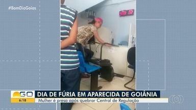 Mulher quebra computadores após não conseguir consulta, em Aparecida de Goiânia - Ele foi detida e levada para a delegacia.