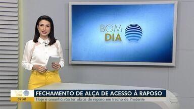 Alça de acesso da Rodovia Raposo Tavares é fechada para obras nestas terça e quarta-feira - Manutenção ocorre no km 564, em Presidente Prudente, sentido Presidente Venceslau.