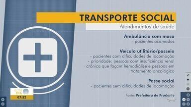 Prefeitura disponibiliza veículos para pacientes se deslocarem até onde serão atendidos - Transporte é feito de três formas diferentes e em casos específicos, conforme regulamentados em Lei.