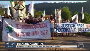 Atingidos por barragens fazem protesto em Mariana, na Região Central de MG - Manifestantes cobram respostas da Renova.