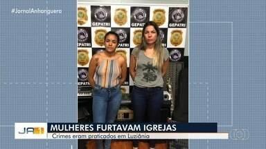 Mãe e filha são presas suspeitas de receptação, em Luziânia - Segundo policiais, elas estavam com objetos que foram furtados de uma igreja na cidade.
