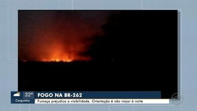 Fumaça prejudica a visibilidade na região da BR-262, no Pantanal - Incêndios voltaram a atingir a região.