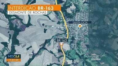 BR-163 em Santa Lúcia será interditada para obras de duplicação - A interdição será entre 12h e 13h.
