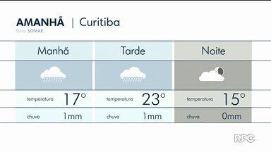 Quarta-feira de tempo fechado e temperatura amena no leste do estado - Máxima não passa dos 23 graus em Curitiba.