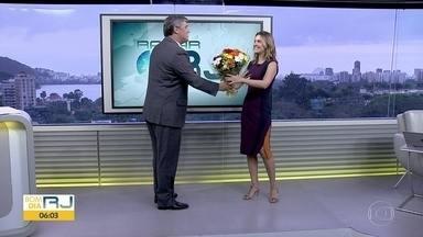 Silvana Ramiro volta ao Bom Dia Rio após nascimento da filha Júlia - Flávio Fachel recepciona Silvana Ramiro que volta ao Bom Dia Rio após a licença-maternidade.