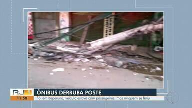 Ônibus derruba poste em fachada de farmácia em Itaperuna - Caso aconteceu na noite desta terça-feira (5) e ninguém ficou ferido.