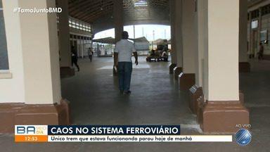Único trem que operava no Sistema ferroviário de Salvador para de funcionar nesta quarta - Na sexta-feira (1), dois veículos bateram de frente, no bairro do Lobato, no subúrbio ferroviário, e 47 pessoas ficaram feridas.