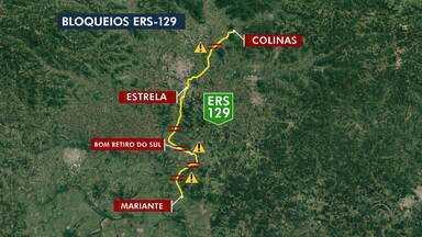 Com a chuva das últimas semanas, nove trechos de rodovias seguem bloqueados - ERS-122 continua totalmente obstruída e sem previsão de liberação da estrada.