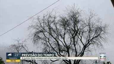 Confira a previsão do tempo para esta quinta-feira (7) - A quinta-feira (7) começa com chuva isolada no Rio.