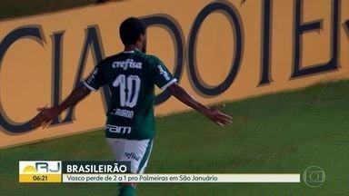 Vasco perde em casa para o Palmeiras - Mesmo sem todos os titulares, time paulista venceu e diminuiu a vantagem do Flamengo para cinco pontos.