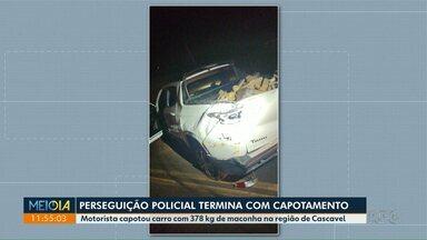 Perseguição policial termina com capotamento - Motorista capotou carro com 378 kg de maconha na região de Cascavel.