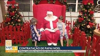 Começam as contratações de 'Papai Noel' em Uberlândia - O preço médio pago por dia para o 'bom velhinho' é de R$ 400 a R$ 800 por seis horas trabalhadas. Em média, eles ganham por 50 dias trabalhados cerca de R$ 20 mil.