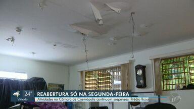 Após inundação, Câmara de Vereadores de Cosmópolis deve ser reaberta na segunda - Trabalhos no Legislativo precisaram ser interrompidos.