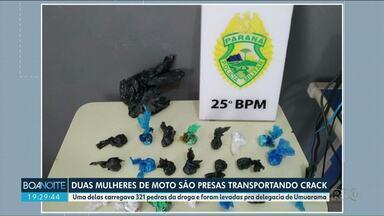 Duas mulheres são presas com droga ao tentar fugir da polícia, em Umuarama - Elas estavam em uma moto e tentaram escapar, quando viram os políciais.
