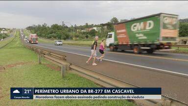 Motoristas e moradores falam dos perigos no perímetro urbano da BR-277 em Cascavel - Moradores fazem abaixo assinado pedindo construção de viaduto.