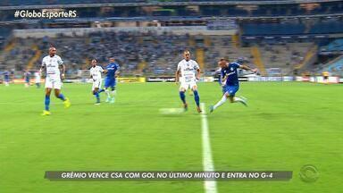 Grêmio vence CSA com gol no último minuto e entra no G-4 - Assista ao vídeo.