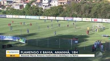 Bahia tem desfalque para o jogo contra o Flamengo, no Rio de Janeiro - Atacante Marco Antonio está machucado e não participa da partida, que acontece no domingo (10), às 18h, no Maracanã.