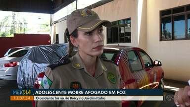 Adolescente de 15 anos morre após se afogar no Rio Boicy, em Foz - O acidente foi no rio Boicy no Jardim Itália.